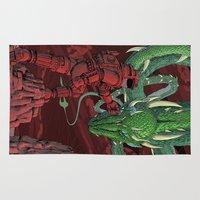 dragonball Area & Throw Rugs featuring The Dragon on Mars by David Comito