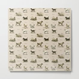 TERRIERS Dog pattern on the beige background Metal Print
