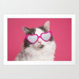 Valentine's Day Cat in Heart Shaped Sunglasses Art Print