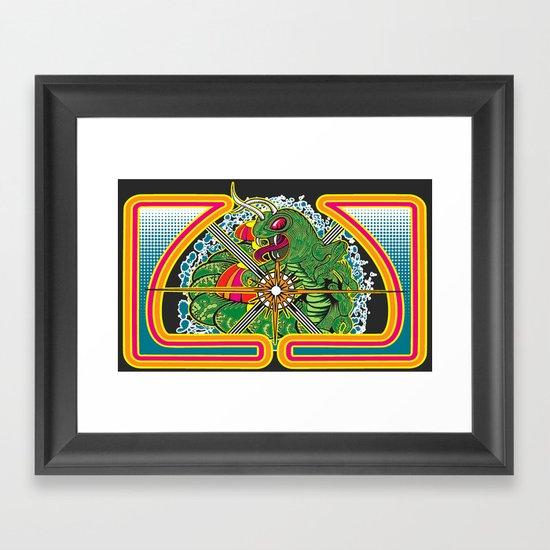 Classic Centipede Woodcut Framed Art Print