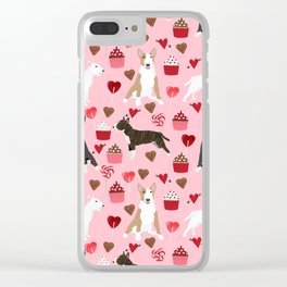 Bull Terrier valentines day cupcakes hearts love mixed coat bull terriers lovers dog breed gifts Clear iPhone Case