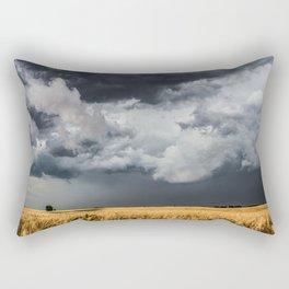 Cotton Candy - Storm Clouds Over Wheat Field in Kansas Rectangular Pillow