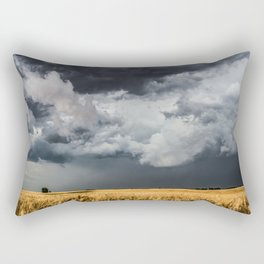 Cotton Candy - Storm Clouds Over Wheat Field in Kansas Rectangular Pillow