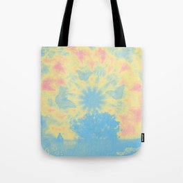 Surreal butterflies and landscape on mandala Tote Bag