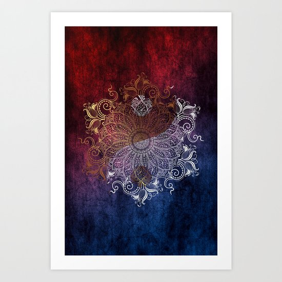Mandala - Fire & Ice, yang version Art Print