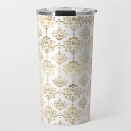 White & Gold Motif Travel Mug