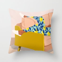 Casual Sunday, Modern Bohemian Eclectic Lemon, Tropical Black Woman Fashion Blush Décor Illustration Throw Pillow