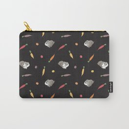 Carrot and Silkie Guinea Pig Pattern in Black Background Carry-All Pouch