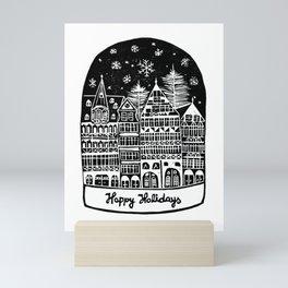 Linocut Holidays Mini Art Print