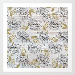 Rustic white wood black elegant faux gold floral Art Print