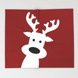 Reindeer on red background Throw Blanket