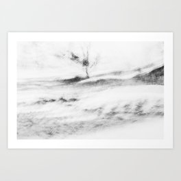 Abstract landscape | Moody fine art print in black and white Art Print
