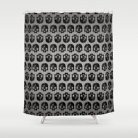 low poly Shower Curtains featuring Black skull low poly by Daniel Delgado