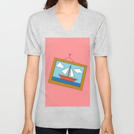 Scene from Moby Dick on pink Unisex V-Neck
