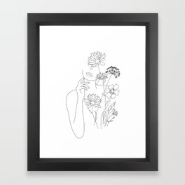 Minimal Line Art Woman with Flowers III Framed Art Print