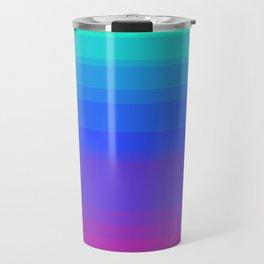 Mint, Blue, & Magenta Uneven Stripes Travel Mug