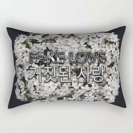 Fake Love White Floral Rectangular Pillow