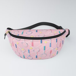 Collection of Retro Tennis Racquets on Pink Fanny Pack