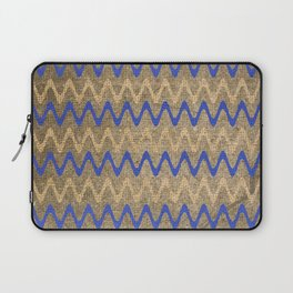 Blue and Tan Zigzag Stripes on Grungy Brown Burlap Digital Illustration - Artwork Laptop Sleeve