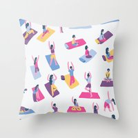 yoga Throw Pillows featuring Yoga by Sara Maese