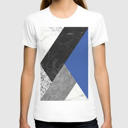 Black and White Marbles and Pantone Lapis Blue Color T-shirt