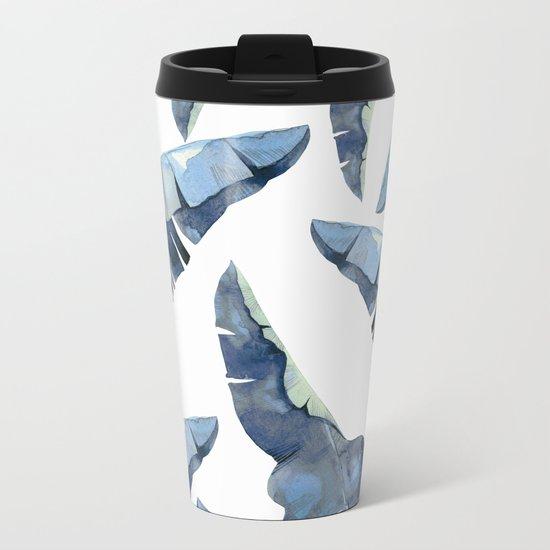 Banana Leaves 2 Blue Metal Travel Mug
