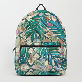 Muted Moroccan Mosaic Tiles with Palm Leaves Backpack