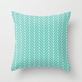 Turquoise Herringbone Pattern Throw Pillow
