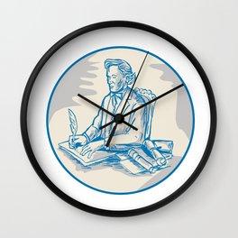 Victorian Gentleman Quill Signing Cartoon Wall Clock