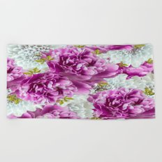 Summer bouquet of purple and white flowers - #Society6 #buyart Beach Towel