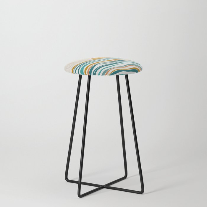 The Sun and The Sea - Gold and Teal Counter Stool
