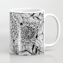 Gold Fish in the Pond, Peaceful Sparrows and Blooming Chrysanthemums by Kent Chua Coffee Mug
