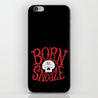 onesie iPhone & iPod Skins featuring Born to Snooze by Chris Piascik
