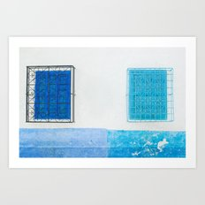 Two Blue Shuttered Windows Art Print
