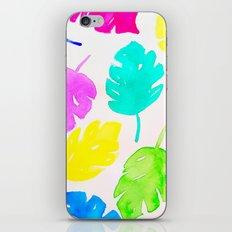 Colorful Monstera Watercolor Leaves iPhone Skin