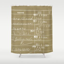 Library Card 23322 Negative Brown Shower Curtain
