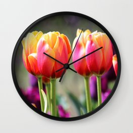 Tulips Aflame Wall Clock