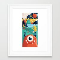yetiland Framed Art Prints featuring Here to There by Greg Abbott