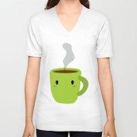 mug V-neck T-shirts featuring MUG by Mimoonx