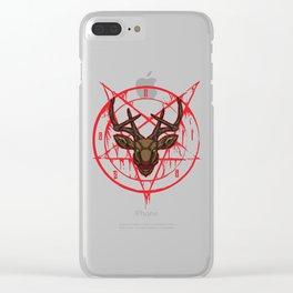 Santa Pentagram with Reindeer Head Clear iPhone Case