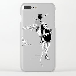 Tiki mask jetpack Clear iPhone Case