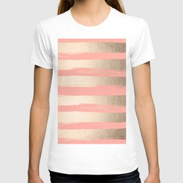 Painted Stripes Tahitian Gold on Coral Pink T-shirt
