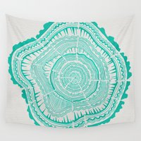 tree rings Wall Tapestries featuring Turquoise Tree Rings by Cat Coquillette