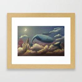 Whale Flight Framed Art Print