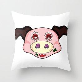 crazy pig Throw Pillow