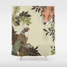 Fox & Pheasant Shower Curtain
