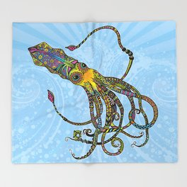Electric Squid Throw Blanket