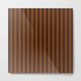 Chocolate Brown Stripes Pattern Metal Print