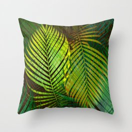TROPICAL GREENERY LEAVES Throw Pillow