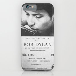 Bob Dylan Poster, 1961, First NY Concert iPhone Case